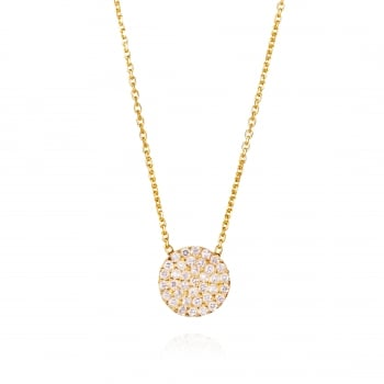 Ingenious Gold necklace with pave circle