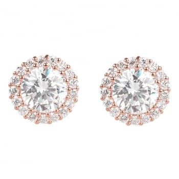 Ingenious Rose gold stud earrings with pave surround