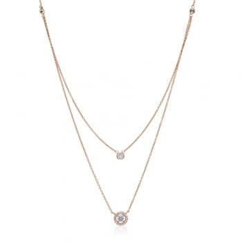 Ingenious Rose gold double layered necklace with single stone and circle