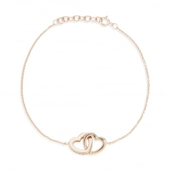 Ingenious rose gold bracelet with linked hearts