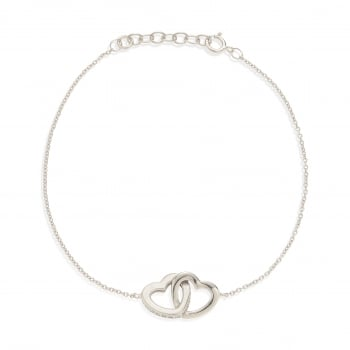 Ingenious silver bracelet with linked hearts