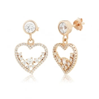 Ingenious rose gold heart earrings with scattered stones