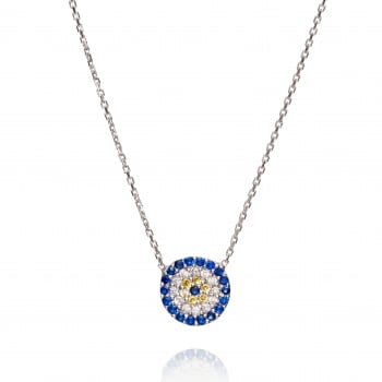 Ingenious silver necklace with round evil eye
