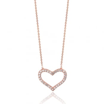 Ingenious rose gold necklace with open pave heart