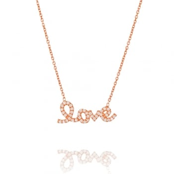 Ingenious rose gold necklace with pave love