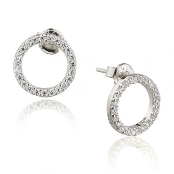 Ingenious Silver open circle stud earrings