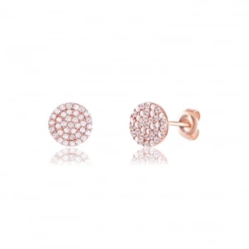 Ingenious Rose gold pave disc earring