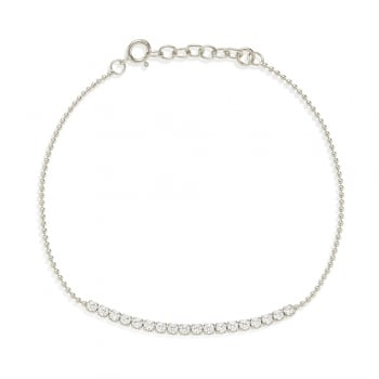 Ingenious Silver bracelet with line of cubic zirconia stone