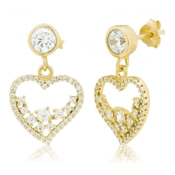 Ingenious Gold heart drop earrings
