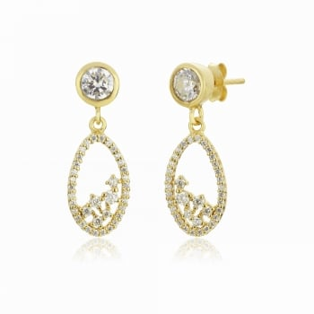 Ingenious Gold earring with oval drop
