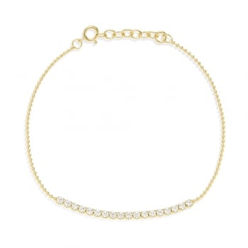 Ingenious gold ball chain bracelet with a row of cubic zirconia stones