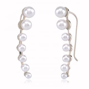 silver ear climber with multi pearls