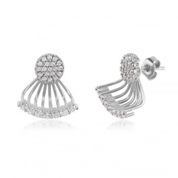 Ingenious silver ear jacket with pave disc and curved bar