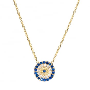 Ingenious gold necklace with round evil eye