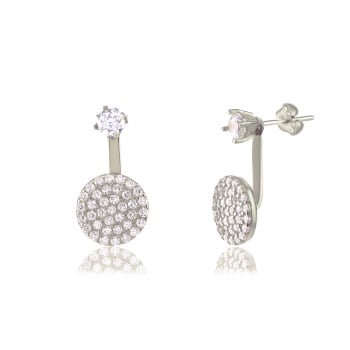 Ingenious silver ear jacket with single stone and pave disc