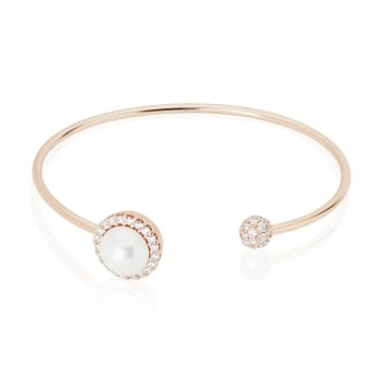 Ingenious rose gold adjustable bangle with pearl and disc