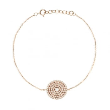 Ingenious rose gold bracelet with pave disc