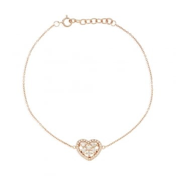 Ingenious rose gold bracelet with pave heart