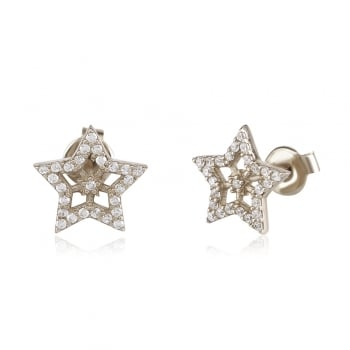 Ingenious Silver earring with open star