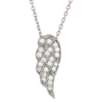 Ingenious Silver necklace with pave wing