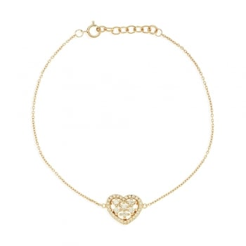 Ingenious gold chain bracelet with small pave heart