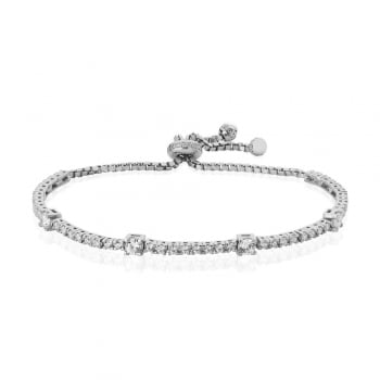 Ingenious silver tennis bracelet with square CZ stones