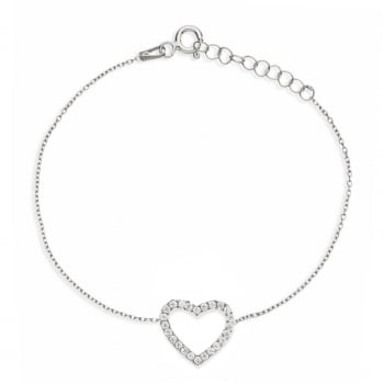 Ingenious silver bracelet with small open pave heart