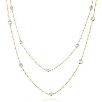 Ingenious gold long necklace with diamonds by the yard