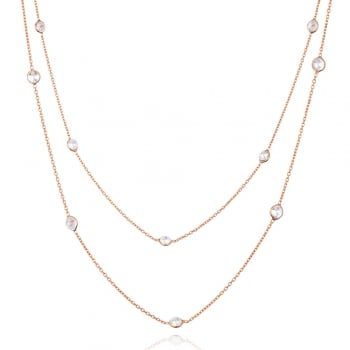 Ingenious rose gold long necklace with diamond by the yard