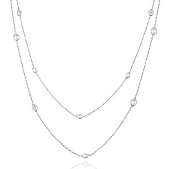 Ingenious silver long necklace with diamond by the yard