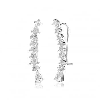 Ingenious Silver ear cuff with triangular stones