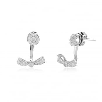 Ingenious silver ear jacket with pave bow