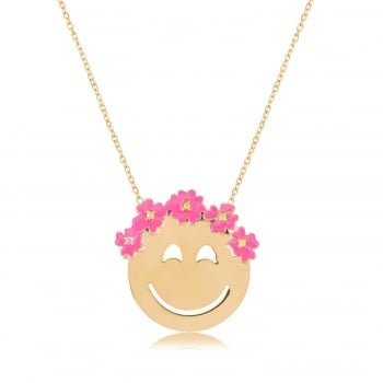 Ingenious gold emoji necklace with flowers