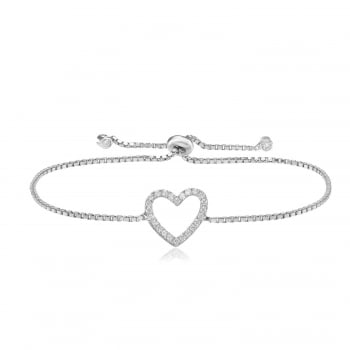 Ingenious silver adjustable bracelet with open heart