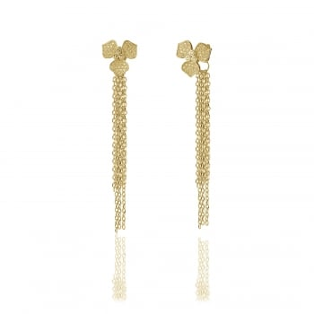 Ingenious gold drop earrings with pave flowers