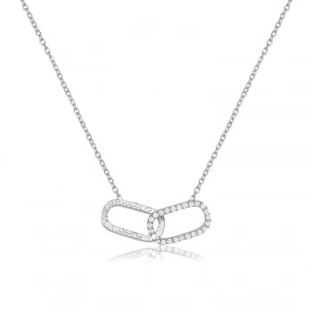 Ingenious silver necklace with interlinking oval shapes