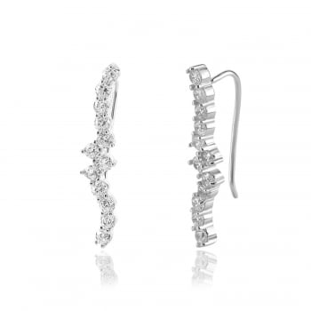 Ingenious silver ear climber with wave design