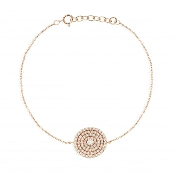 Ingenious gold bracelet with large pave disc
