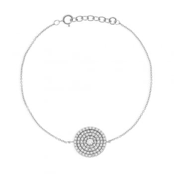 Ingenious silver bracelet with large pave disc