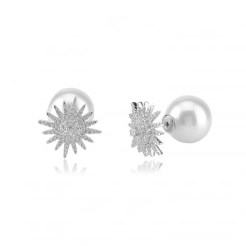 Ingenious silver back to back earrings with pave star and pearl