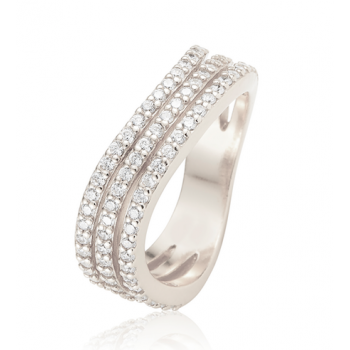Ingenious silver ring with three pave rows
