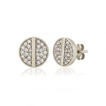 Ingenious silver earrings with pave disc with centre line