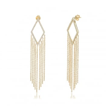 Ingenious gold chandelier earrings with hanging chains