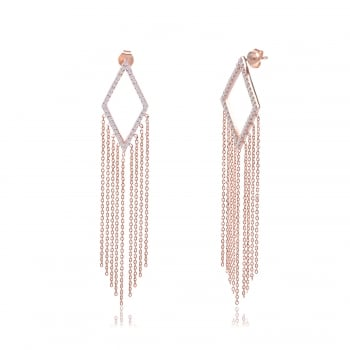 Ingenious rose gold chandeliers with hanging chain earring