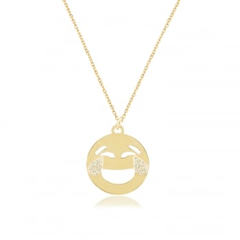 Ingenious gold emoji necklace with laughing tears