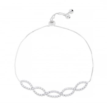 Ingenious silver adjustable bracelet with linked ovals