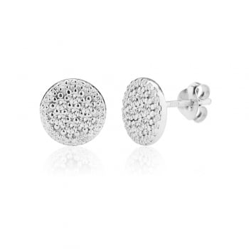 Ingenious silver disc stud earrings