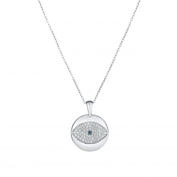 Ingenious silver necklace with silver disk and pave eye