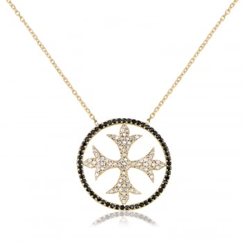 Ingenious Gold necklace with pave cross in black cz surround