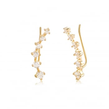 Ingenious Gold ear climber with multi cz stones